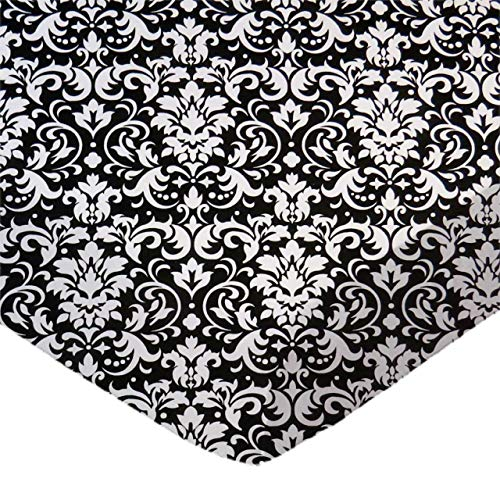 SheetWorld Fitted Portable / Mini Crib Sheet - White Damask - Made In USA