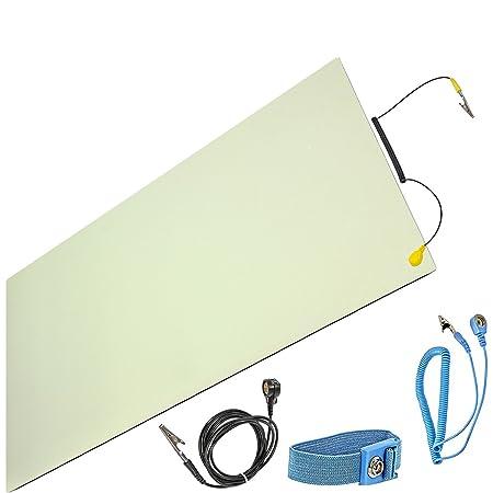Minadax ESD Antistatik-Matte 30cm x 55cm - inkl. Manschette + Verlängerung - Professionelle Antistatische Arbeitsmatte - PVC-