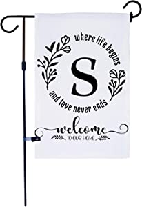 AKPOWER Small Garden Flag Vertical Double Sided 12 x 18 Inch Farmhouse Burlap Yard Outdoor Decor Classic Monogram Letter S