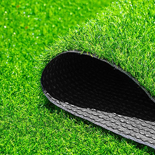 Outdoor High Density Artificial Grass,Artificial Lawn 1cm Height Fake Lawn with Drainage Holes Pet Turf for Patio Balcony Grass Rug Turf Mat-Green 200x1600cm(79x630inch) ()