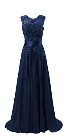 Hanxue Womens Chiffon Long Evening Dress Prom Dress Navy Blue US 8 at Amazon Womens Clothing store: