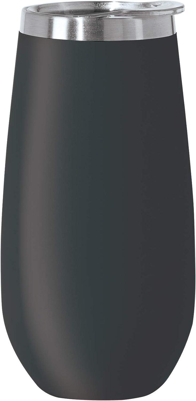 Oggi Thermo Vacuum Insulated Flute-6 oz, Black, 6 Ounce