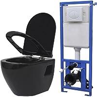 Festnight Cuvette Céramique WC Toilette Suspendue au Mur avec Réservoir Noir