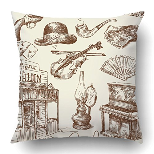 Western Cowboy Clipart - Emvency Throw Pillow Covers Western Hand Drawn Wild West Collection Vintage Gun Saloon Sketch Cowboy Old Hat Polyester 18 X 18 Inch Square Hidden Zipper Decorative Pillowcase