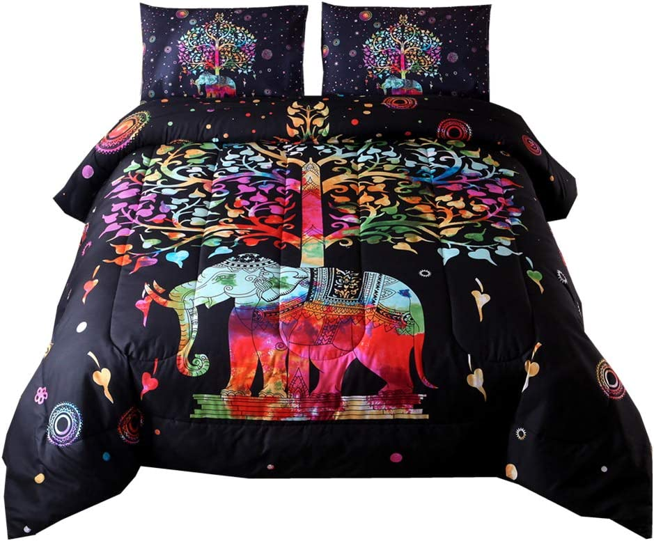 NTBED Bohemian Comforter Sets Queen Mandala Exotic Multi Elephant Pattern with Tree Boho Quilt Bedding Sets (red, Queen)