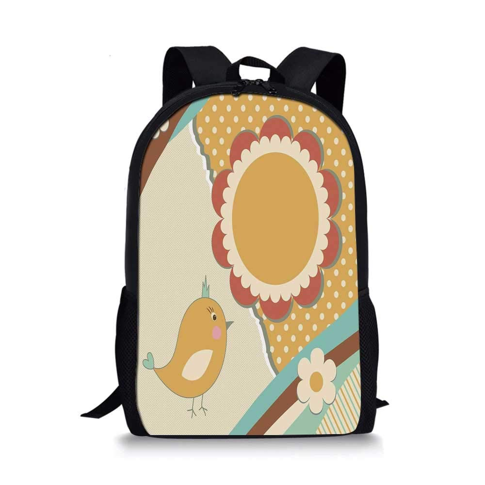 Doodle Stylish School Bag,Cute Little Bird with a Giant Flower on a Dotted Background Retro Inspired Print for Boys,11''L x 5''W x 17''H by C COABALLA