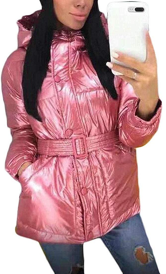 LANDOO Women Winter Metallic Silver Hoodie Loose Fit Quilted Jacket Coat Outerwear,Pink,X-Large