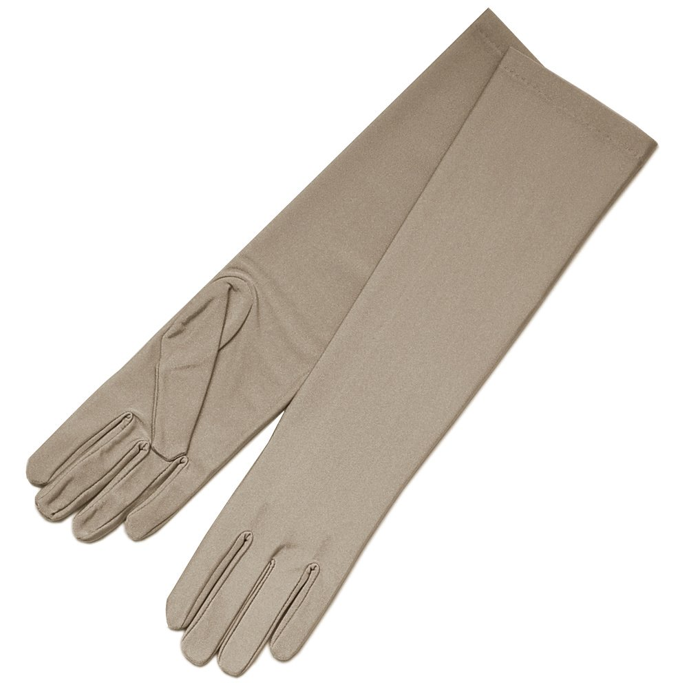 ZaZa Bridal 4-Way Stretch Matte Finish Satin Dress Gloves Below-The-Elbow Length-Taupe