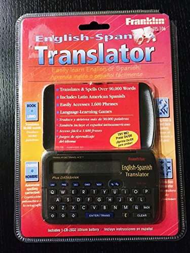 New Franklin TES-106 Spanish-English Translator stores more than 90,000 words with spelling correction plus 1,600 useful phrases.