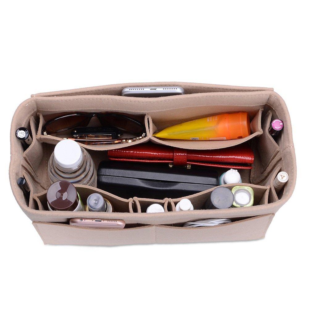 CEEWA Felt Purse Organizer, Multi Pocket Bag in Bag Organizer For Tote & Handbag Shaper, Speedy 30, Speedy 35 and Speedy 40, Medium, Large, Extra Large (Medium, Beige)