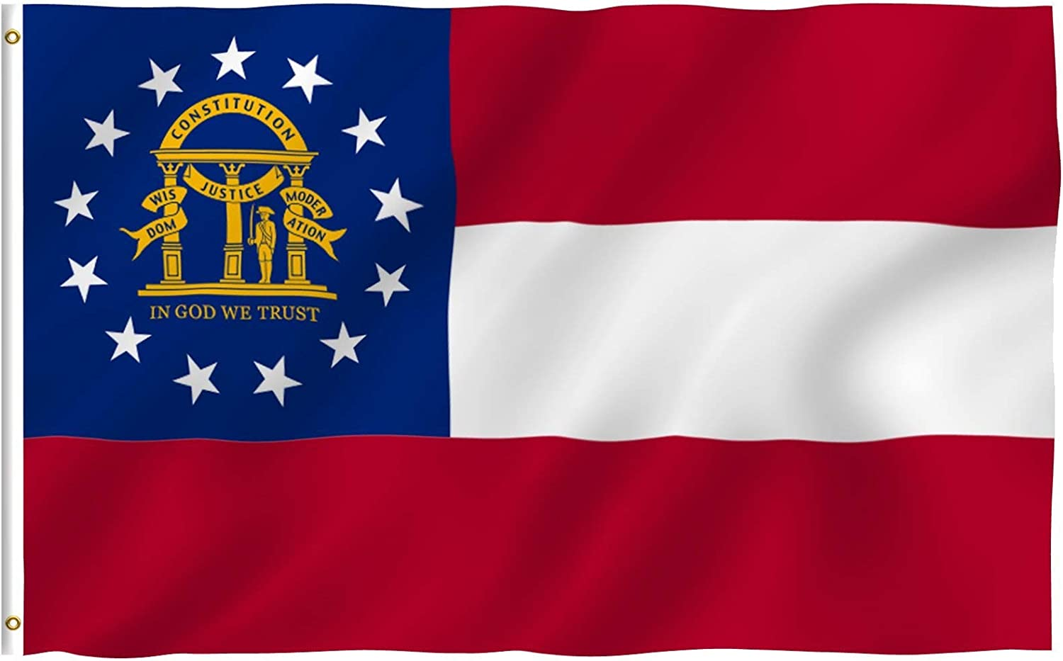 Amazon.com : Anley Fly Breeze 3x5 Foot Georgia State Polyester Flag - Vivid  Color and Fade Proof - Canvas Header and Double Stitched - State of Georgia  GA Flags with Brass Grommets