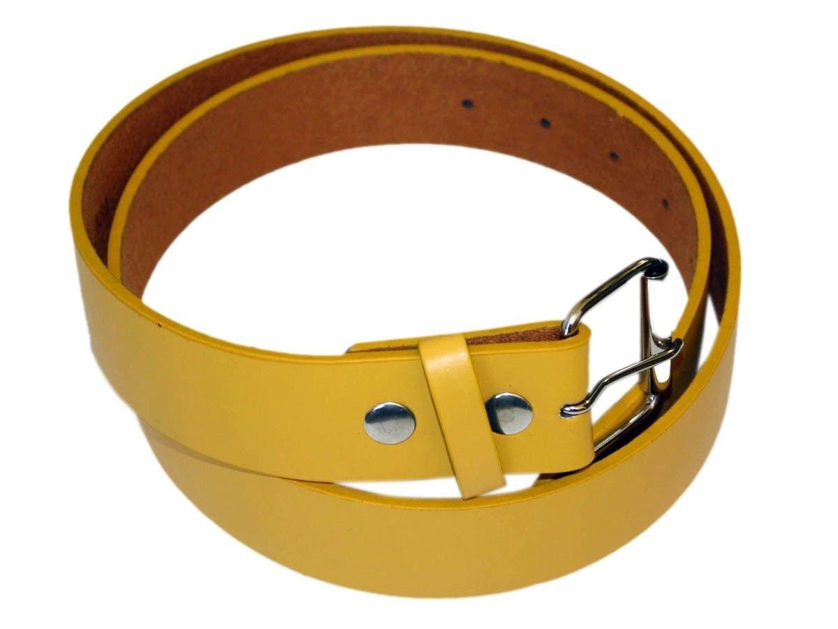 Men's Fashion and Dress PU Belt 1.5 '' Wide yellow-L