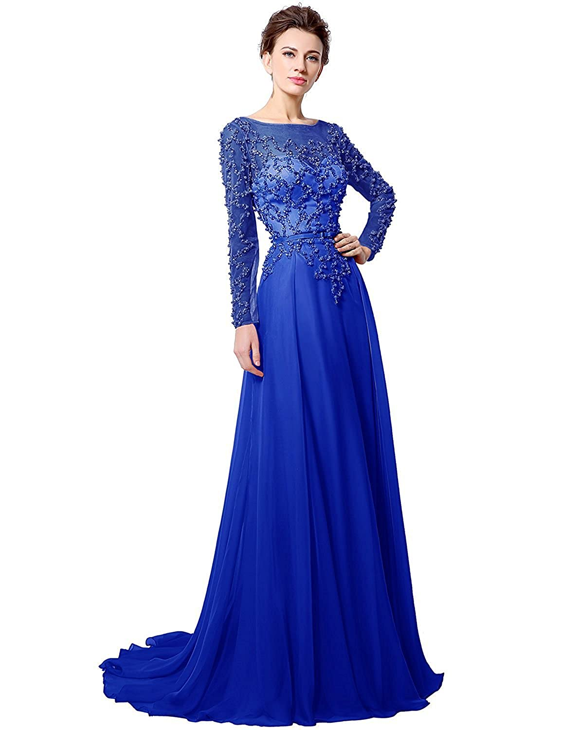 051royal bluee Sarahbridal Womens Lace Prom Dresses Formal Evening Gown with Half Sleeve SD328