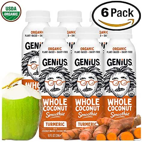 Genius Juice Organic Coconut Smoothie: Delicious Blended Whole Coconut Meat + Coconut Water - Creamy, Filling Meal Replacement - MCTs, Paleo, Vegan, Kosher, Non-GMO - Turmeric 6-Pack