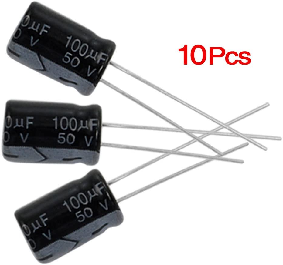 R 100 Pcs 25V 100uF 105C Radial Lead Electrolytic Capacitors SODIAL