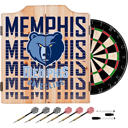 Trademark Gameroom NBA7010-MG3 NBA Dart Cabinet Set with Darts & Board - City - Memphis Grizzles by Trademark Global