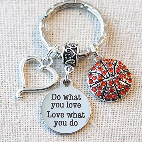 BASKETBALL Keychain, Do What You Love - Love What You Do Encouragement Gift, SENIOR Night Basketball Gift, Basketball Team Coach Gifts