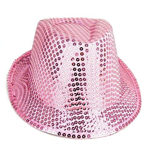 [Pink Sequin Trilby Party Hat - Fancy Dress - Freshers / University / College / Festivals] (Ganster Hat)