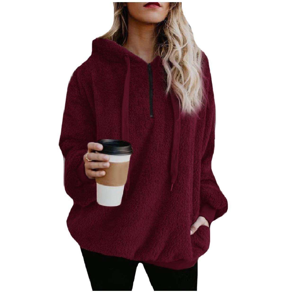 RDHOPE-Women Pure Colour Fleece Pocket Pullover Warm Hoodies Sweater