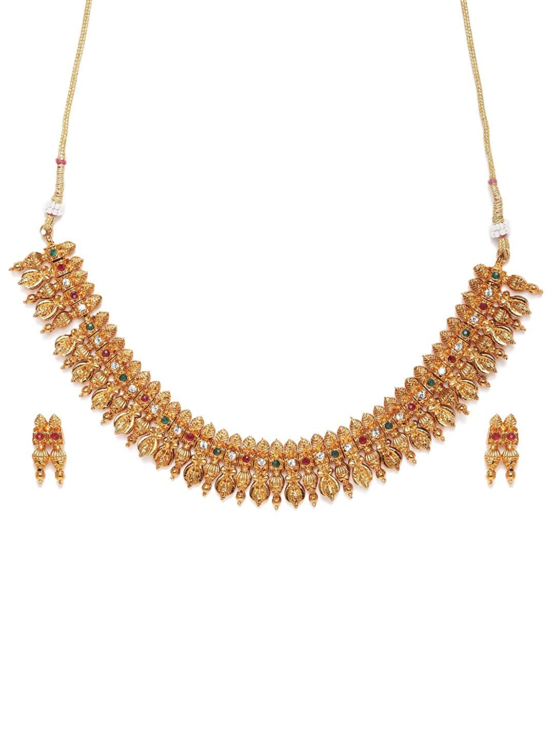 Zaveri Pearls Pink & Green Stones Studded Ethnic Necklace & Earring Set