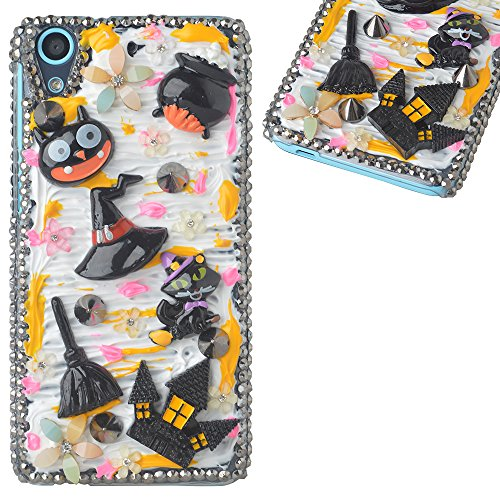 Spritech(TM) 3D Handmade Crystal Phone Case for Alcatel OneTouch IDOL 3 (5.5inch),Helloween Style Monster Haunted House Design Smartphone Cover -