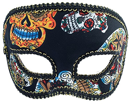 Forum Novelties Men's Mask-Day of Dead-Half-Male, Black, Standard -