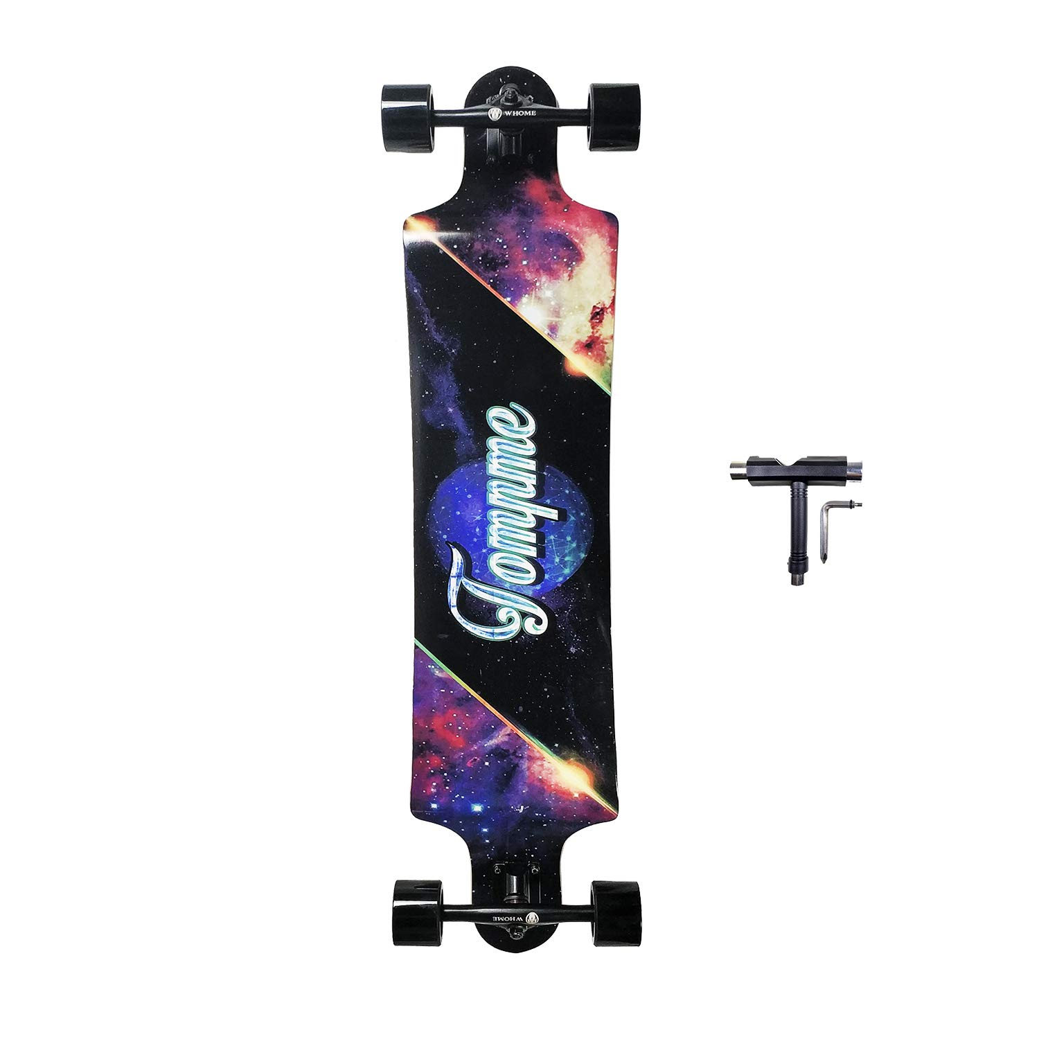 SHINPORT 10x41 Inch Freeride Longboard Skateboard Drop Down for Downhill Cruising Carving Freeride Freestyle
