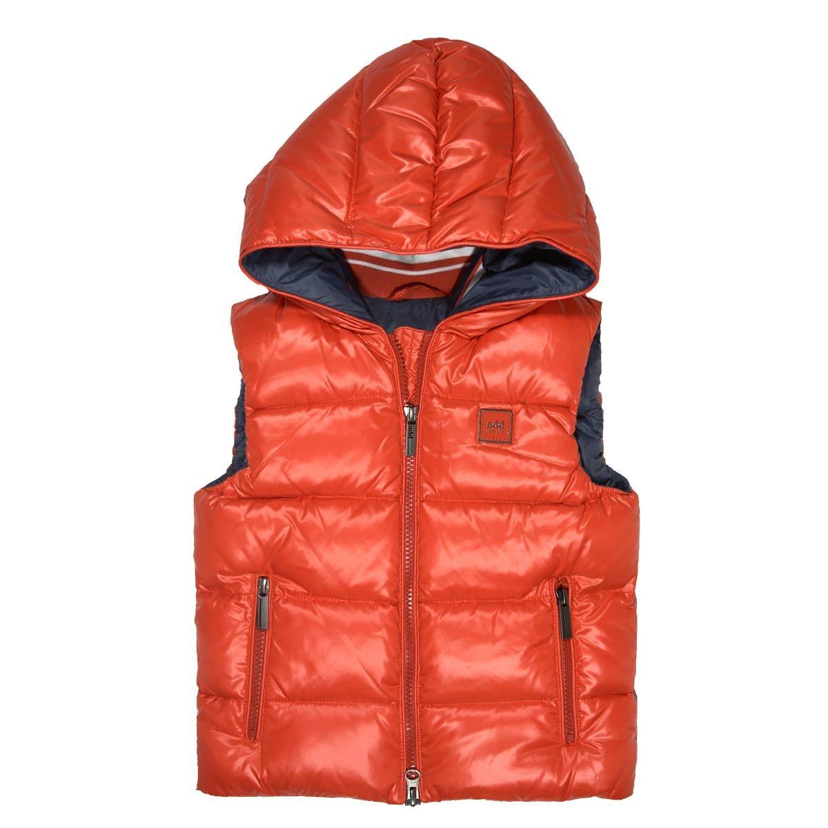 ADD Little Boys Down Vest Orange/Earl Grey - 6