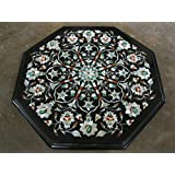 """14"""" Black Marble Table Top Coffee Table Side Table End Table Patio Garden Table Sofa Table Octagon Shape Stones Inlaid"""