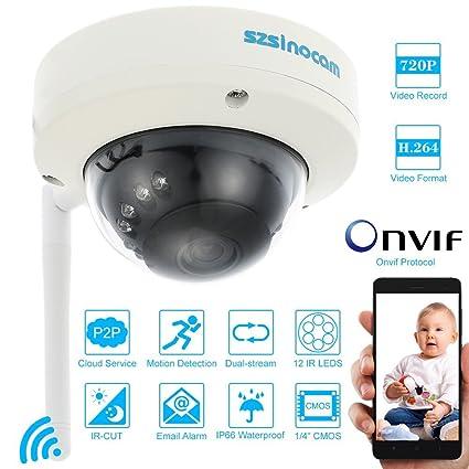 Szsinocam Cámara Domo HD CCTV Vigilancia (720P P2P, Wifi, ONVIF, 12 LED IR-CUT, Visión Nocturna, Detección de Movimiento, Alarma por Email, ...
