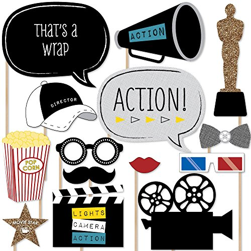 Big Dot of Happiness Movie - Hollywood Party Photo Booth Props Kit - 20 Count -