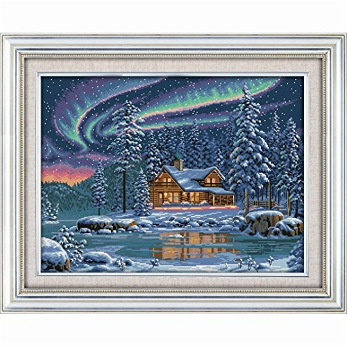 Kuwoolf Aurora Cabin Landscape Needlework DIY Cross Stitch S