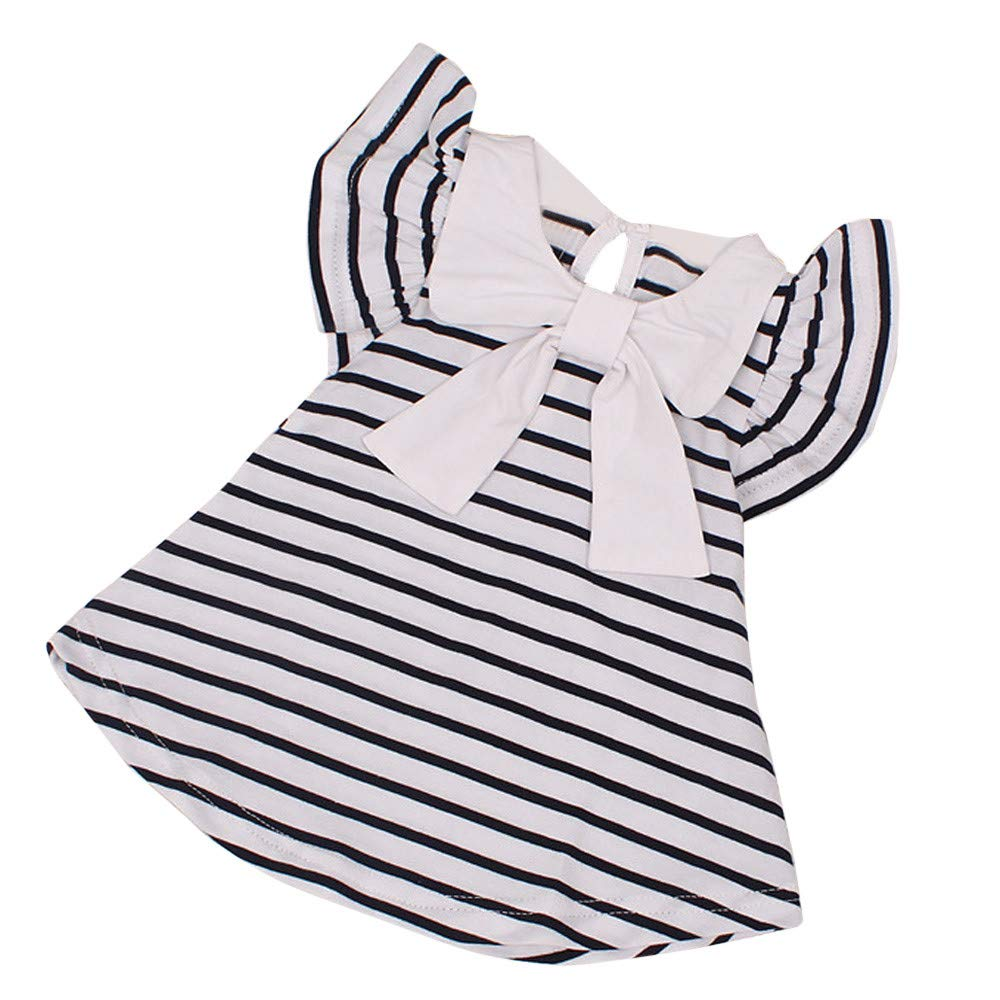 KIMODO Kleinkind Baby Mä dchen Kleid Gestreift Kleider Urlaub Prinzessin Kurzarm Sommerkleid Outfit Kleidung Bestseller