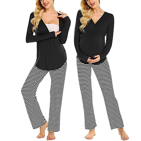 Umstandsmode Nightwear Pyjama Schlafanzugoberteil mit Stillfunktion
