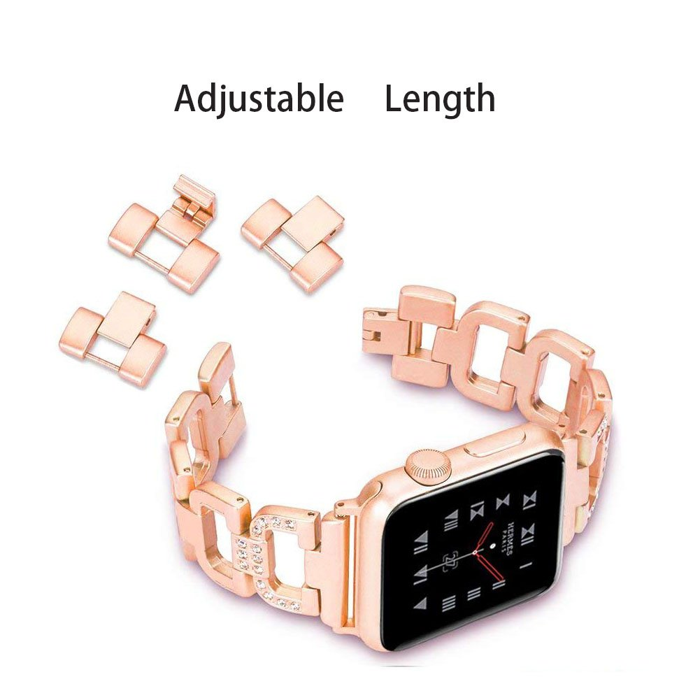 XIHAMA Stainless steel Wristband compatible with iwatch Series 1 2 3 4 5 Crystal Replacement Straps for 38mm 40mm 42mm 44mm D type