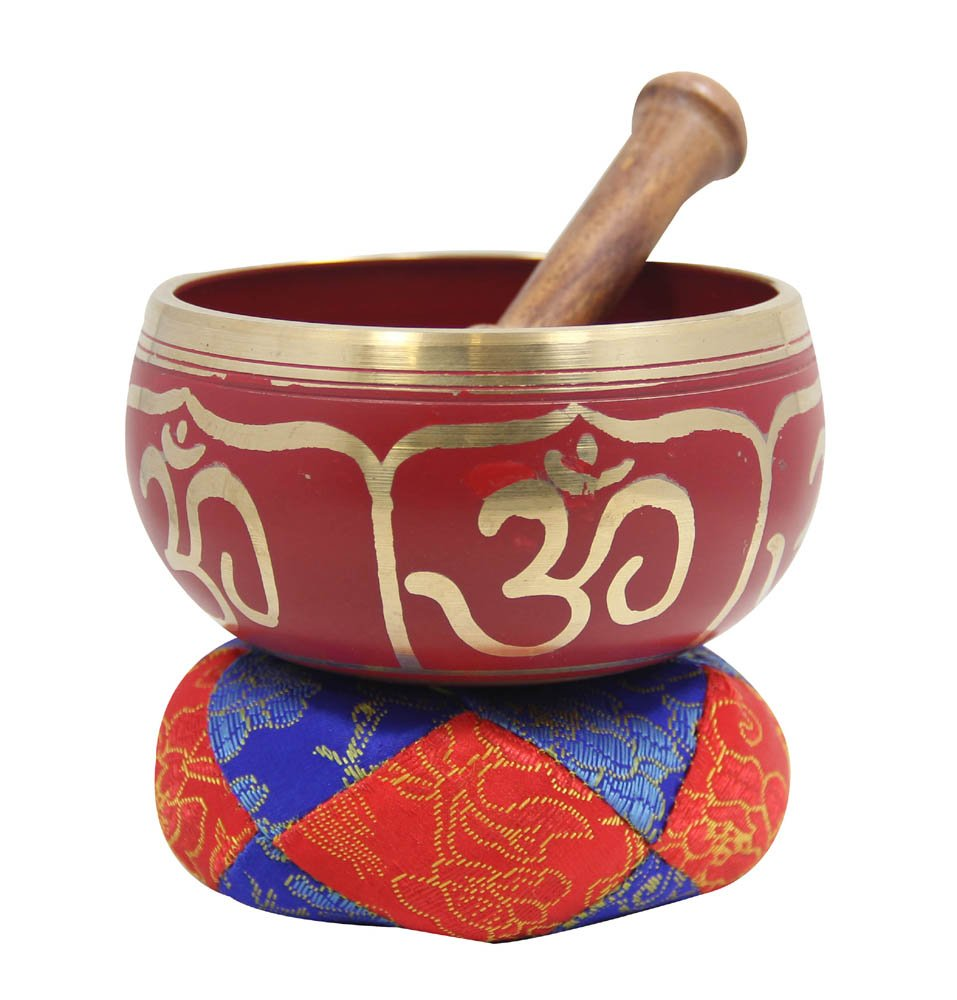 DharmaObjects Tibetan Relaxing Om Singing Bowl / Cushion / Mallet (Red)