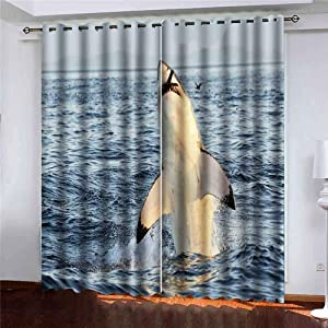Shorping 52X84 Inch Beautiful Sheer Window Curtains Blackout Window Curtain Panel Great White Shark in Attack on Seal South Africa Carcharias Breaching an Blackout Window Curtain for Bedroom, 2 Pc