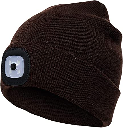 Etsfmoa Unisex LED Beanie Hat with Light Grey Gift for Men and Women USB Rechargeable Winter Knit Lighted Headlight Hats Headlamp Skull Cap
