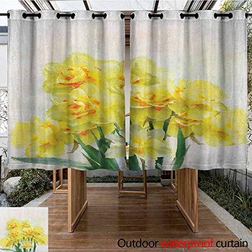 - Indoor/Outdoor Curtains,Daffodil,Digital Watercolors Paint of Daffodils Bouquet Called Jonquils in England Lily,Waterproof Patio Door Panel,K160C115 Yellow Green