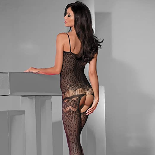 bfcc59af2 Beauty s Love Sexy Lace Nude See Through Hosiery Elastic Halter Fishnet  Bodystocking with Open Crotch