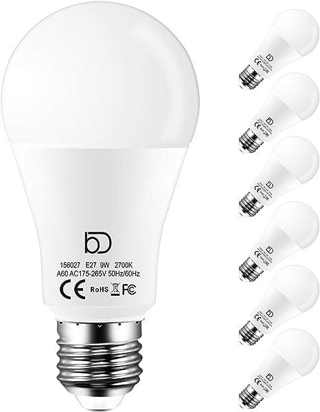 Lampadine Led E27 Luce Calda 2700k 9w Equivalente A 90w 900 Lumens Pacco Da 6 Lampadina E27 Amazon It Casa E Cucina
