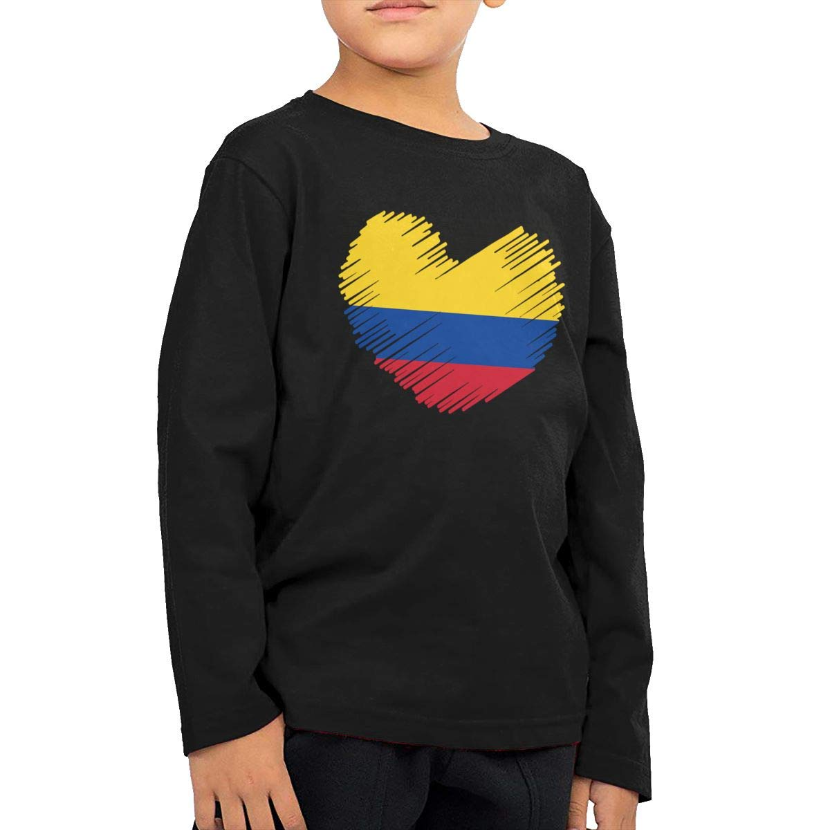 Childrens Colombia Flag in Heart Shape ComfortSoft Long Sleeve Shirt