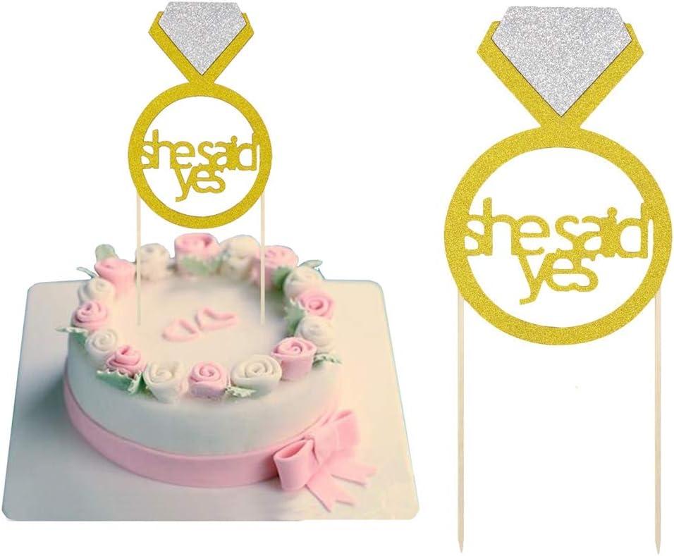 Compromiso de boda Brillo dijo que sí Cupcake O Cake Topper Despedida De Soltera