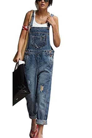 37169f17176 Simgahuva Womens Jumpsuit Denim Dungarees Jeans Overalls Casual Loose  Playsuit Sleeveless  Amazon.co.uk  Clothing