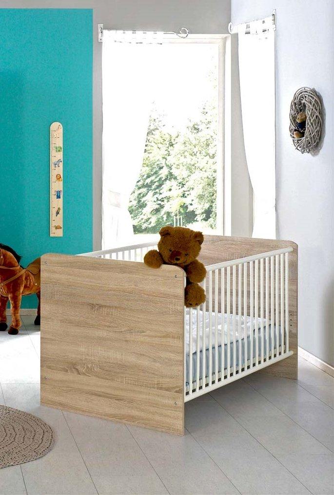 Kinderbett Babybett komplett Set ELISA inkl. Lattenrost 70 x 140 cm höhenverstellbar, in Eiche Sonoma / weiß - umbaubar zum Juniorbett - Made in Germany, 100% zertifiziert BMG Möbel GmbH