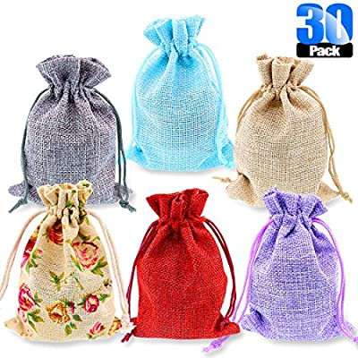 Glarks 30 Pack Rose Lace and 5 Color Burlap Bags with Drawstring Gift Bags Jewelry Pouches Sacks for Christmas Wedding Party Shower Birthday DIY Arts & Crafts Presents, 5.3 x 3.9 inches from Glarks