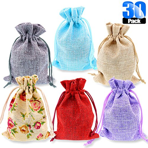 Glarks 30 Pack Rose Lace and 5 Color Burlap Bags with Drawstring Gift Bags Jewelry Pouches Sacks for Christmas Wedding Party Shower Birthday DIY Arts & Crafts Presents, 5.3 x 3.9 inches by Glarks