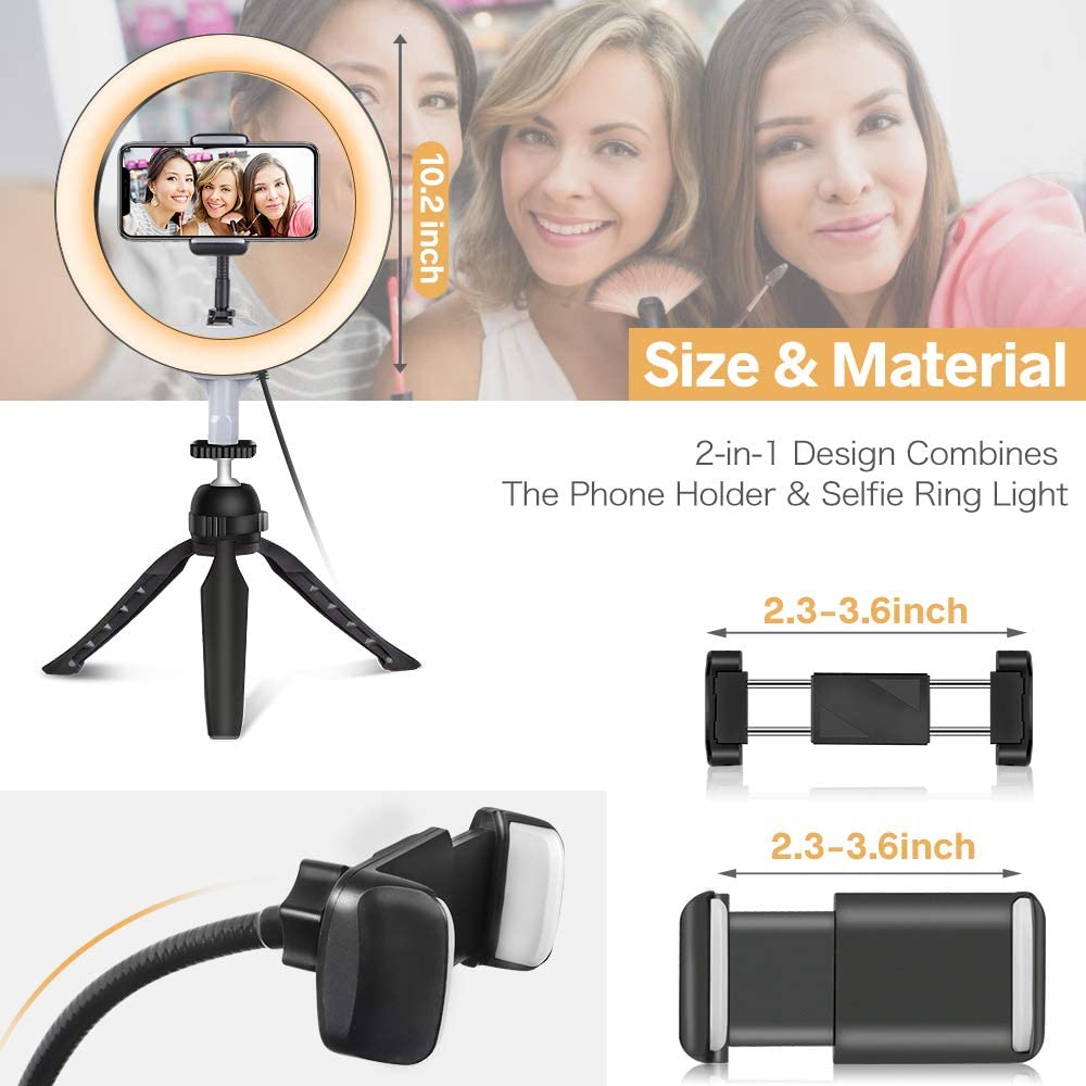 Photography 3 Light Modes and 11 Brightness Levels 10 LED Ring Light with Tripod Stand /& Phone Holder Perfect for Live Streaming /& YouTube Video UBeesize Dimmable Desk Makeup Ring Light