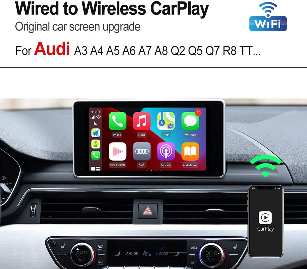 konvertieren Sie kabelgebundenes CarPlay in drahtloses Carlinkit 2.0 Wireless CarPlay Adapter C-Design wei/ßes Auto mit werkseitig verkabeltem CarPlay f/ür A3 A4 A5 A6 A7 Q7 Q2 R8 Q5 MMI 2017-2019