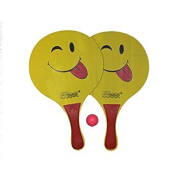 Set de 2 palas de playa con dibujo y pelota: Amazon.es: Juguetes y ...